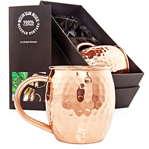 Lifestyle Banquet Moscow Mule Copper Mugs - Set of 2-16 oz Pure Solid Hammered Copper Cups with Welded Handle and Recipe Card in Black Satin Gift Box