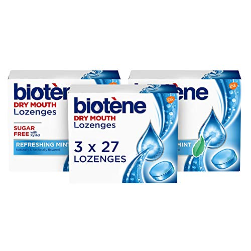 Biotene Dry Mouth Lozenges for Dry Mouth and Fresh Breath, Dry Mouth Relief and Breath Freshener, Refreshing Mint - 27 Count (Pack of 3)