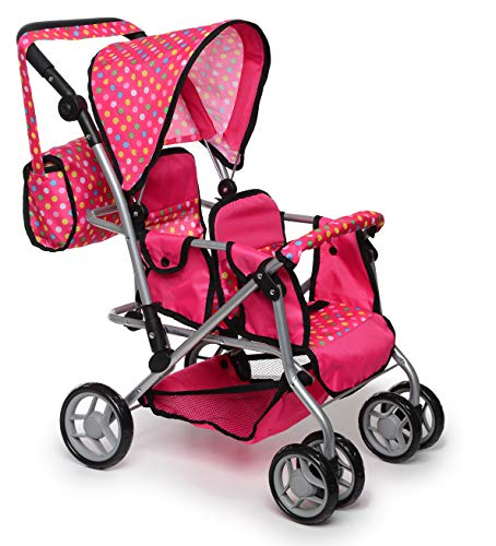 Exquisite Buggy, Twin Doll Stroller with Diaper Bag and Swivel Wheels & Adjustable Handle - Pink & Polka Dot Design