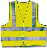 Chaleco reflectante unisex con tres rayas, color amarillo, talla L