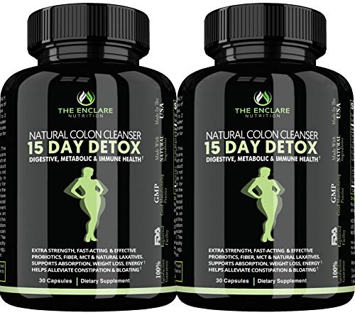 pure colon cleanse products Detox Colon Cleanse for Weight Loss. 15 Day Fast-Acting Detox Pills, Extra-Strength Natural Laxatives, Probiotic, Fiber: Constipation Relief, Reduce Bloating, Boost Energy, Focus & Immune Support (2)