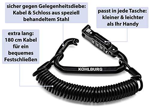 KOHLBURG 180cm extra-langes Zahlenschloss für die Tasche – Kabelschloss 3mm stark als Kinderwagenschloss, Helmschloss, Snowboardschloss & Skischloss - 4