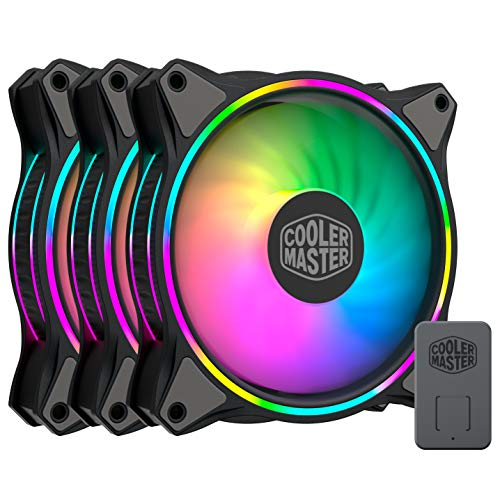 Cooler Master MasterFan MF120 Halo, ventilador con iluminación RGB direccionable de doble anillo de 120 mm, paquete 3 en 1