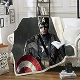 POMJK Avengers Fleecedecke für Kinder,mit Thor, Iron-Man und Captain America 100prozent Mikrofaser Kinderdecke,Sofadecke Decken,für Picknicks oder Camping (8,150×200CM)