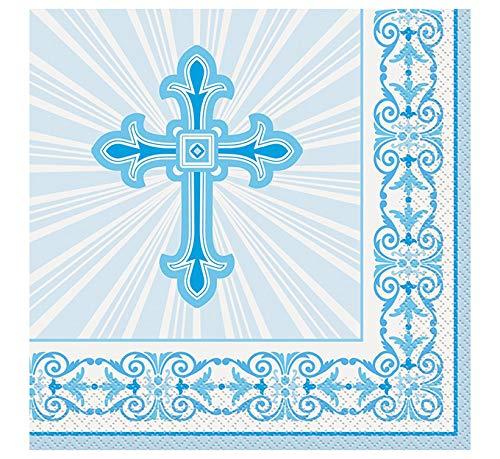 Unique Party - Servilletas de Papel - Diseño Religioso Cruzado Radiante - Color Azul - Paquete de 16 (43822)