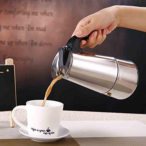Koffiepot, roestvrijstalen koffiezetapparaat pot met percolator kachel Top - Hittebestendige handvat Koffie Percolator voor Thuis/Kantoorgebruik (100ML)(200ML)
