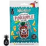 WALLAROO Trozos de Piña Deshidratada Orgánica, Sin Azúcar y Sin Sulfitos | Snacks Saludables | 10 Paquetes de 30g | 100% Natural. Ideal para aperitivos, dietas y veganos