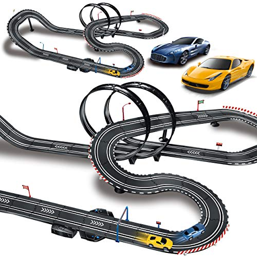 MAOXIAN Remote Racing Tracks Slot Car Racing Sets, Kids Toy Race Mini Slot Car Racing Track, High Speed Electric Rolling Toy Slot Car Loop Track for Boys Girls Best Option Gifts