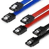 deleyCON 3X 50cm SATA 3 Nylon Cable Set Cable de Datos Cable de Conexión 6 Gbit/s Placa Base HDD SSD Disco Duro 2 Conector S-ATA Recto Negro Azul Rojo