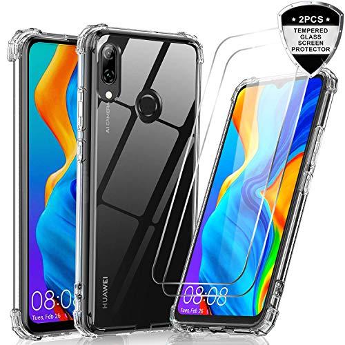 LeYi Hülle für Huawei P Smart 2019 / Honor 10 Lite Mit [2 Stück] Panzerglas,Durchsichtig Stoßfest Handyhülle Transparent Silikon Schutzhülle Slim TPU Bumper Armor Case für Handy P Smart 2019 Clear