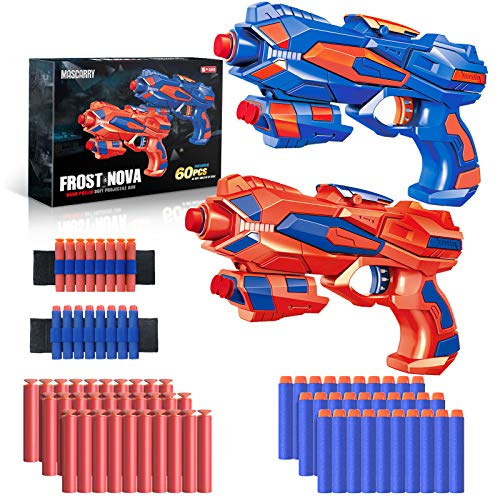 MASCARRY 2 Pack Blaster Guns Compatible with Nerf Guns Bullets, Toy Guns with 60 Pack Soft Foam...