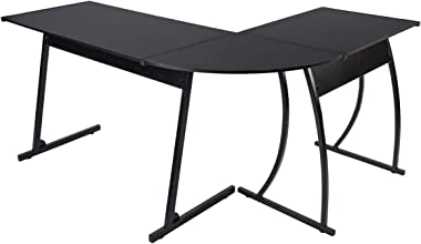 """CHADIOR L Shaped Corner Computer Gaming Desk 58""""L x 44""""W Modern Workstation Table for Small Space Home Office, Black"""