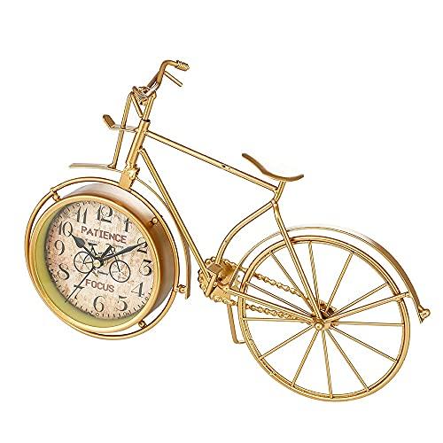 Despertador Inicio Creative Tyrant Reloj De Bicicleta Dorado Reloj De Personalidad Simple Reloj De Escritorio con Decoración De Hierro Silencioso