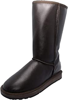 Women Platform Mid-Calf Bootie Warm Lined Anti-Slip Casual Slip On Faux Leather Half Knee Boots