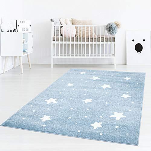Taracarpet Kinderzimmer Teppich Dreamland kleine kleine Sterne und passende Punkte Blau Creme 140x200 cm