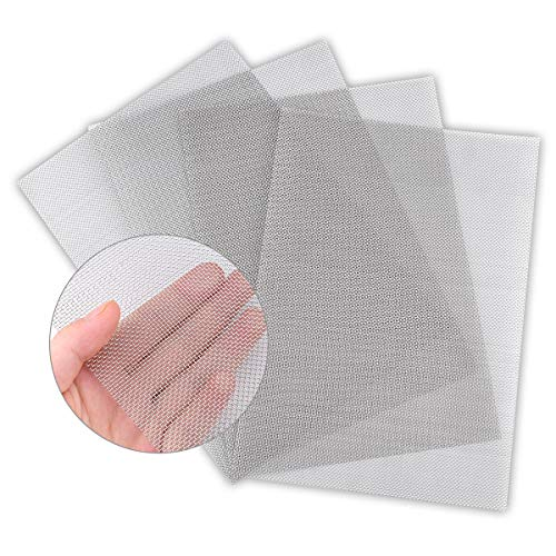 4PACK Stainless Steel Woven Wire Mesh Never Rust, Air Vent Mesh 11.8'X8.2'(300X 210mm), Hard and Heat Resisting Screen Mesh, 1mm Hole 20 Mesh Easy to Cut by Valchoose