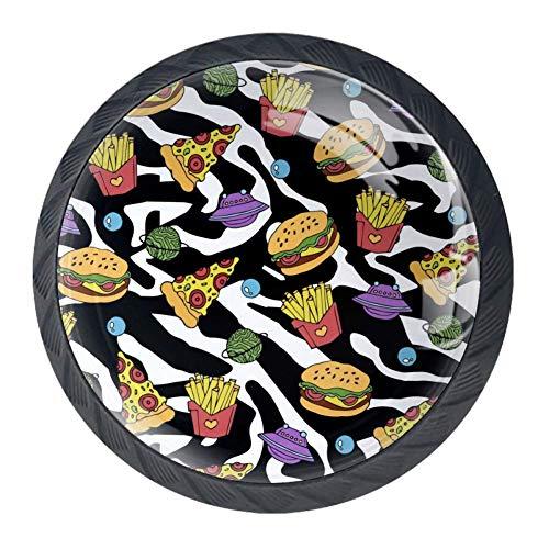 Schubladenknöpfe für Pizza, Hamburger und Pommes, rund, für Küchenschrank, Schrank, Schrank, Schrank, Tür, Heimdekoration