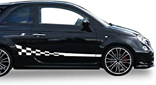 Bubbles Designs Decal Sticker Vinyl Side Wavy Finishing Stripe Kit Compatible with Fiat 500 Abarth 2007-2017 (White)