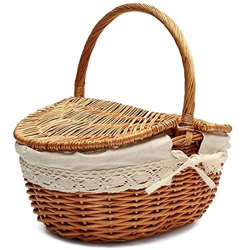 FEINENGSHUAI Zwl - Cesto de mimbre hecho a mano con asa de mimbre para acampar y pícnic con doble tapa, cesta de almacenamiento con forro de tela