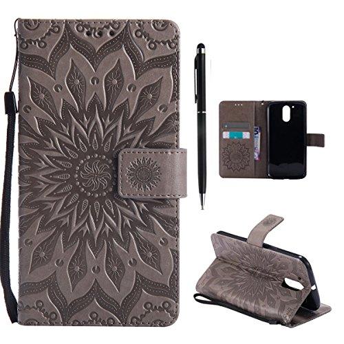 Hancda Hülle für Moto G4 / Moto G4 Plus Hülle Leder Flip Case, Schutzhülle Ledertasche Handyhüllen Cover Magnet Geldbörse Taschen Stoßfest Handytasche für Moto G4 / Moto G4 Plus,Blume Grau