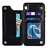 VanHai Compatible for iPhone XR Case with Card Holder Wallet Apple Pouch Case with Credit Card Slots Double Magnetic Clasp and Durable Shockproof for Essential Cell Phone Protective Cover Black