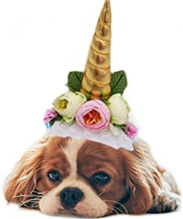 Stock Show 1Pc Halloween Pet Unicorn Shape Hat with Ribbon String Cat Dog Headwear with Flower Decor Pet Birthday Party Festival Supplies Halloween Pet Costume Accessory for Small Dog Cat