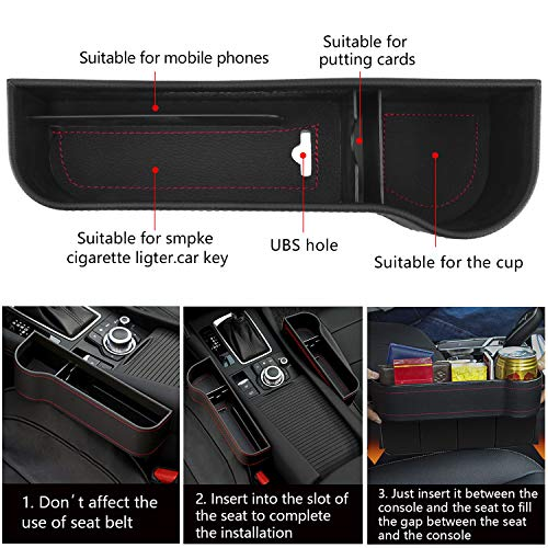 Vooteen Car Seat Gap Filler, Seat Gap Filler with Cup Holder 2 Pack, Premium Pu Leather Seat Console Organizer Pocket and Car Headrest Hooks