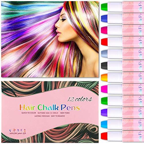 Haarkreide,12 Farbe Auswaschbar Haarkreide Temporäre Haarfarbe Non-Toxic Hair Chalk Stifte, 6 Paar Handschuhe für Kinder, Weihnachten, Halloween, Party, DIY, Cosplay Alle Haarfarben