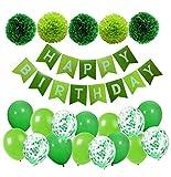 MAKFORT Geburtstagsdeko Grün Happy Birthday Girlande mit Pompoms und Luftballons Grün Konfetti Luftballons für Geburtstag Partydeko