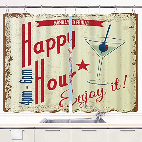 CANCAKA Kitchen Curtain 2 Panels Set,Beer Retro Vintage Happy Hour Drink Typographical Food Abstract Cocktail Party Bar Word Pub,Window Curtains Window Treatment Panels Sets Drapes Hooks 55'x39'