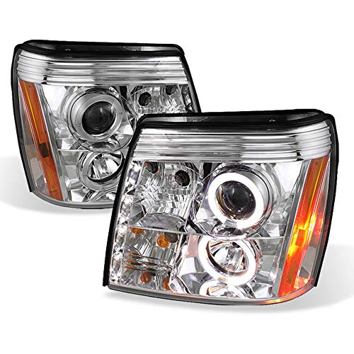 ACANII - For [HID Model] 2003-2006 Cadillac Escalade DRL LED Chrome Projector Headlights Headlamps, Driver & Passenger