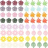 SUNNYCLUE 64Pcs 4 Styles Wood Charms Pendants with Hole Flower Leaf Wooden Painted Charms for DIY Jewelry Necklace Earrings Making Charms Craft Supplies, Mixed Color