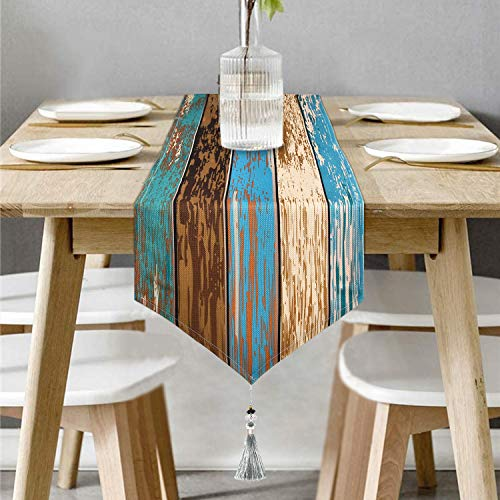 Bateruni Retro Wood Grain Table Runner, Cotton Linen Classic Table Runner with Tassels for Dining Room Party Holiday 70x14 Inches