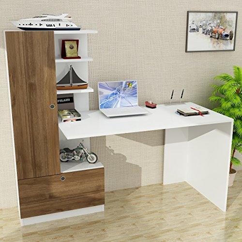 Alphamoebel 2992 Domingos Schreibtisch Computertisch Arbeitstisch Bürotisch Laptoptisch PC Tisch Kinderschreibtisch, Holz, Weiß Walnuss, mit Regal, 149,5 x 61,8 x 73,8 cm