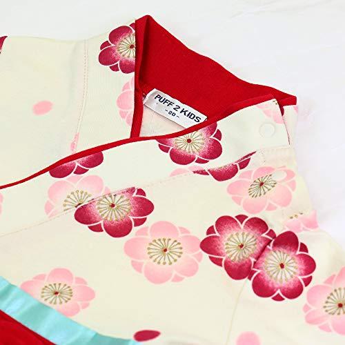 ベビーキッズ袴風カバーオールロンパース女の子茜色70cm10623609RE70