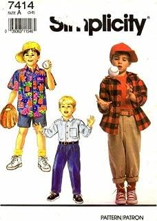 Simplicity 7414 Sewing Pattern Boys Pants Shorts Shirt Cap Size 3 - 8
