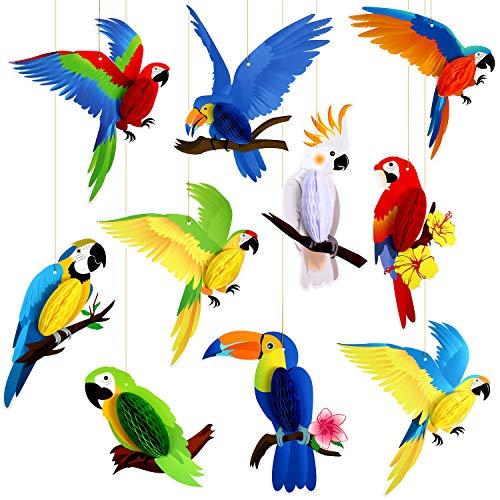 10 Piezas Panal Papel de Aves Tropicales Recortes de Papel Nido de Abeja de Loros, Fiesta Luau de Verano Selva Playa Hawaiana Decoraciones Colgantes