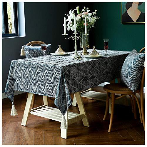 WLI Mantel Rectangular, 105x155cm, Azul Mantel Lavable sin Arrugas, Cubierta de Mesa Decorativa para Cocina, Comedor, Fiesta Interior
