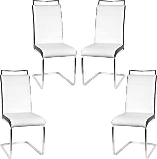 YJIIJY Köln Silla Cantilever Pack de 4 con Patas Cromadas para Cocina/Comedor/Oficina/Salon (Blanco Negro, 4)