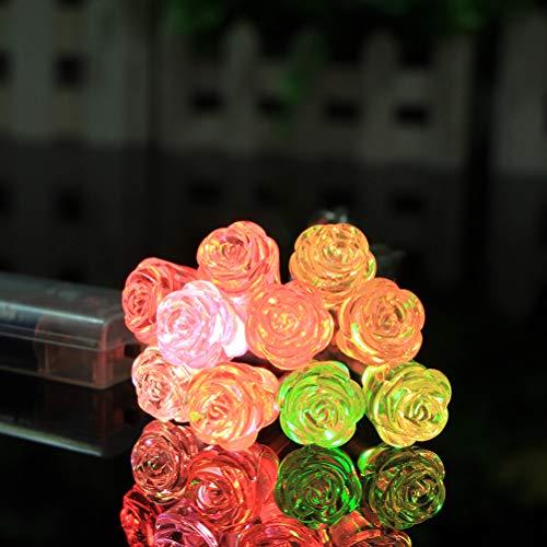 OSALADI 10 LED Flor de rosa Luces de cadena Luces coloridas de la noche Luz de hadas Decoración para la fiesta del dormitorio Regalo del día de la madre Sin batería incluida