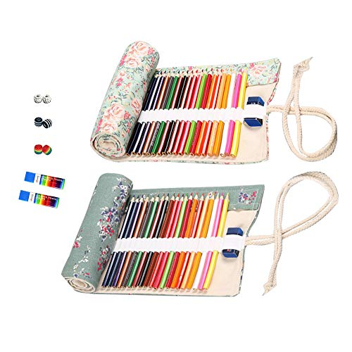 72 Slots Canvas Pencil Wrap Colored Pencils Roll Up Case Pure Handmade Pencil Pouch Travel Drawing Coloring Pencil Roll Holder Organizer (2-Pack Flowers)