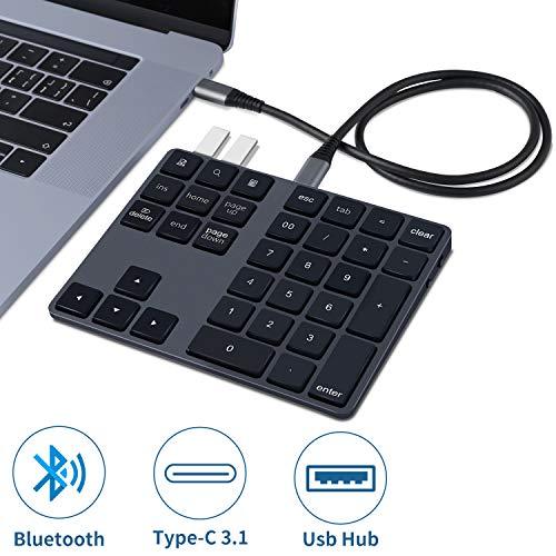 Rechargeable-Bluetooth-Numeric-Keypad, Cofuture Wireless Number Pad with USB 3.0 Hub Slim 34-Keys External Numpad Keyboard Data Entry for MacBook, MacBook Air/Pro, iMac Windows Laptop Surface Pro etc