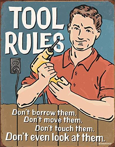 "Desperate Enterprises Tool Rules Tin Sign, 12.5"" W x 16"" H"