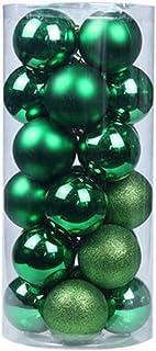 Dayoly Lot de 24 boules de Noël incassables pour sapin Décoration pour saison de Noël, fêtes, vert foncé, 6cm