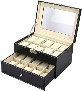 صندوق تخزين للساعات صندوق مجوهرات مكون من 20 قطعة حافظة لتخزين الساعات من طبقتين، لون أسود
