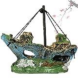 GHHG Paisaje artificial acuario resina pirata barco naufragio decoración barco ornamento decoración acuario ornamento esconder cueva para pecera
