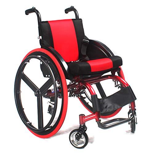 KLFD Silla de Ruedas Deportiva Plegable de Aluminio Ligero, Silla de Ruedas Autopropulsada, Discapacitados Adolescentes Niños, Absorción de Impactos+Respaldo Ajustable+Cojín Grueso