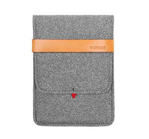 Tophome iPad Sleeve Protector borsa custodia per il trasporto di feltro di lana in vera pelle, per Apple iPad Mini/iPad mini 2/iPad mini 3/iPad mini 4, grigio