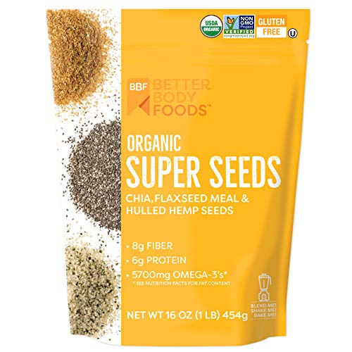 Superfood Organic Super Seeds - Chia Flax & Hemp 16 oz Bag, Blend of Organic Chia Seeds Organic Milled Flax Seed Organic Hulled Hemp Seeds, Add to Smoothies Shakes & More