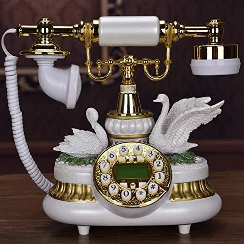 YUBIN Teléfono de estilo europeo antiguo teléfono retro antiguo antiguo con cable botón fijo (21,5 x 15 x 26 cm)